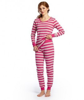 Leveret-Womens-Fitted-Striped-Pajama-100-Cotton-XS-XL-Medium-Berry-Chime-0