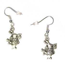 Mini-White-Rabbit-Herald-Alice-In-Wonderland-Silver-Plated-Charm-Earrings-0