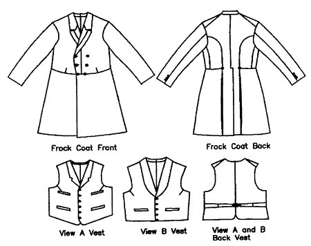 Patterns - Laughing Moon #109, Men\'s Frock Coat with Vests 1850-1915 ...