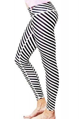 Pink-Queen-Chic-Black-White-Stripe-Printed-Wide-Mid-Waist-GMY-Leggings-0
