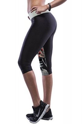 Pink-Queen-Hipsters-Floral-Skull-Print-Knee-Length-GMY-Bermuda-Leggings-0