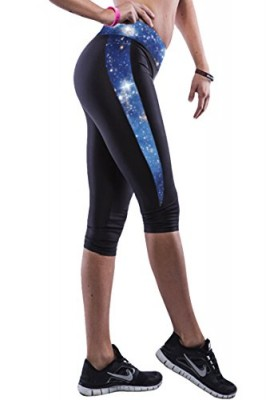 Pink-Queen-Juniors-Blue-Galaxy-Printed-34-Length-Under-Knee-Campaign-Leggings-0