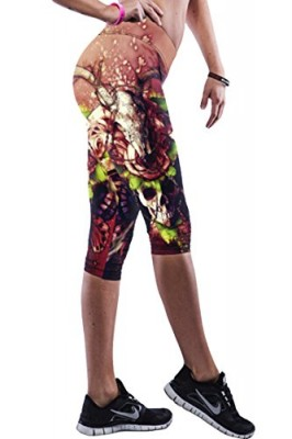 Pink-Queen-Stylish-Brown-Skull-Floral-Patterned-Fold-Over-Under-Knee-Leggings-0