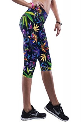 Pink-Queen-Womans-Colorfull-Leaves-Printed-Keeping-Fit-Bermuda-Leggings-0