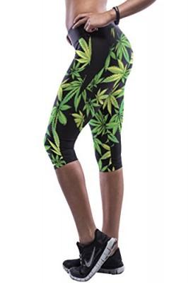 Pink-Queen-Womens-Great-Hemp-Leaf-Printed-Athletic-Under-Knee-Capri-Tights-0