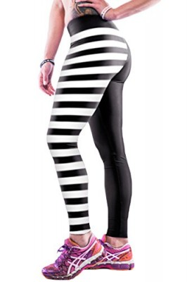 Pink-Queen-Womens-Stylish-Skull-Stripe-Printed-Stretch-Spandex-Leggings-0