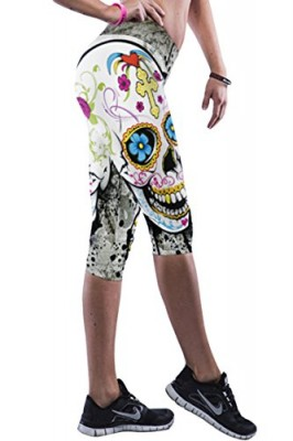 Pink-Queen-Womens-Trendy-Big-Skull-Printed-Fitted-Yoga-Training-Cropped-Pants-0