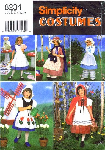 Simplicity 8234 Sewing Pattern Girls Red Riding Hood Bo Peep Dutch