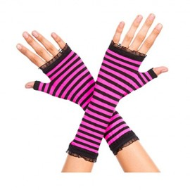 Std-Women-BlackHot-Pink-Opaque-Striped-Arm-Warmer-with-Mini-Lace-Trim-0