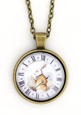 White-Rabbit-Necklace-Antique-Gold-Tone-NX70-Alice-in-Wonderland-Art-Print-Pendant-Fashion-Jewelry-0