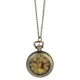 Zad-Womens-Metal-White-Rabbit-Watch-Necklace-Gold-Tone-0