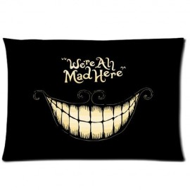ZhouBrand-Soft-Zippered-Pillowcase-Pillow-case-Cover-2030-Inch-Two-Sizes-Alice-In-The-Wonderland-Were-Ah-Mad-Here-Black-Fashion-Design-0