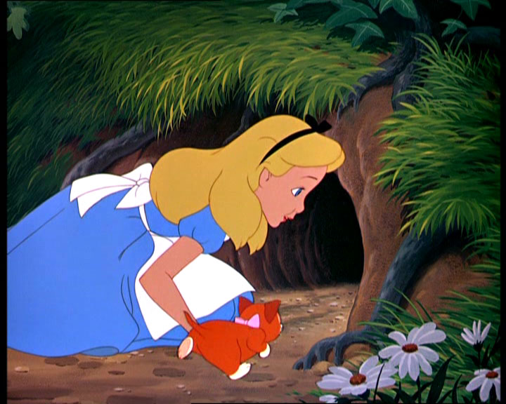 Alice in front of the rabbit hole