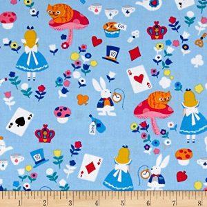 Blue Alice in Wonderland fabric
