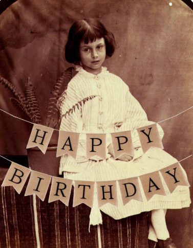 Alice Liddell photo with birthday banner