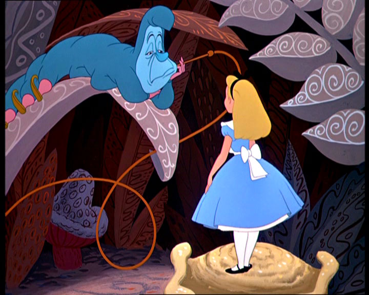 Alice talking to the Caterpillar