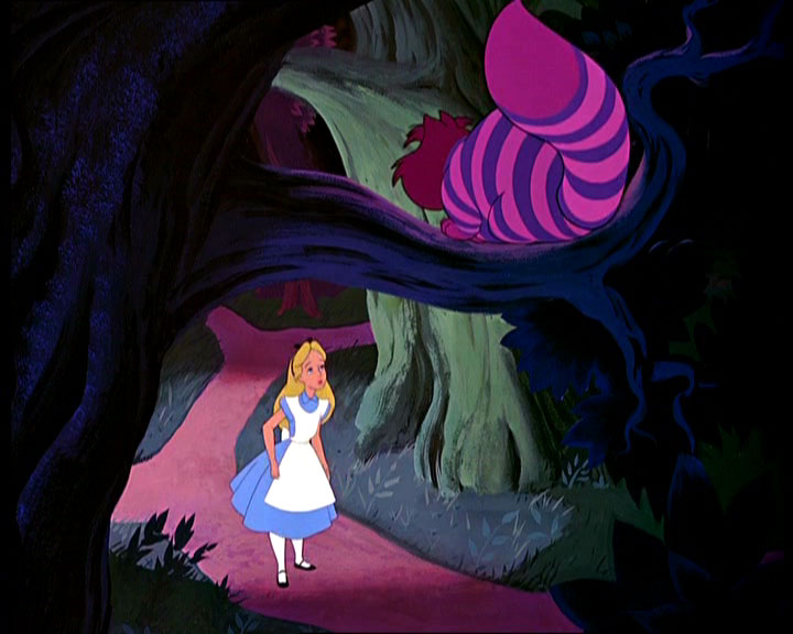 Alice talking to the Cheshire Cat