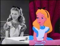 Kathryn Beaumont and the cartoon version of her