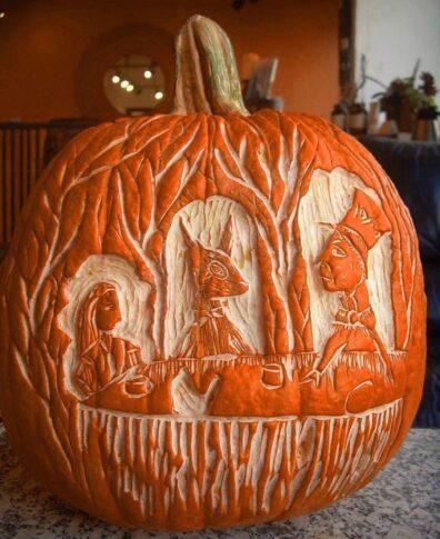 Carved Alice in Wonderland pumpkin by Guinevere von Sneeden
