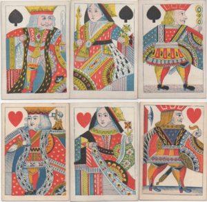 Court figures on De La Rue playing card deck, 1840's