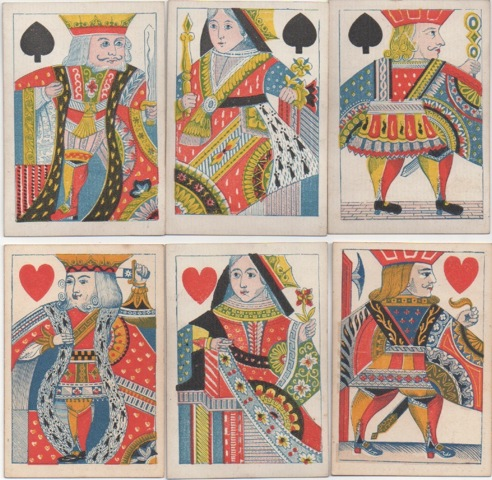 Court figures on De La Rue playing card deck, 1840's