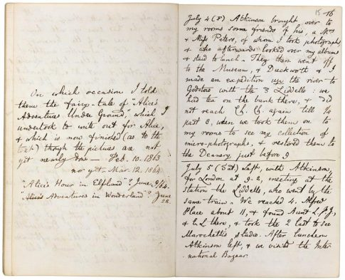 Page from Dodgson's diary, entry 4th of July 1862 with additions