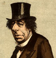 Fragment of a drawing of Disraeli in Vanity Fair