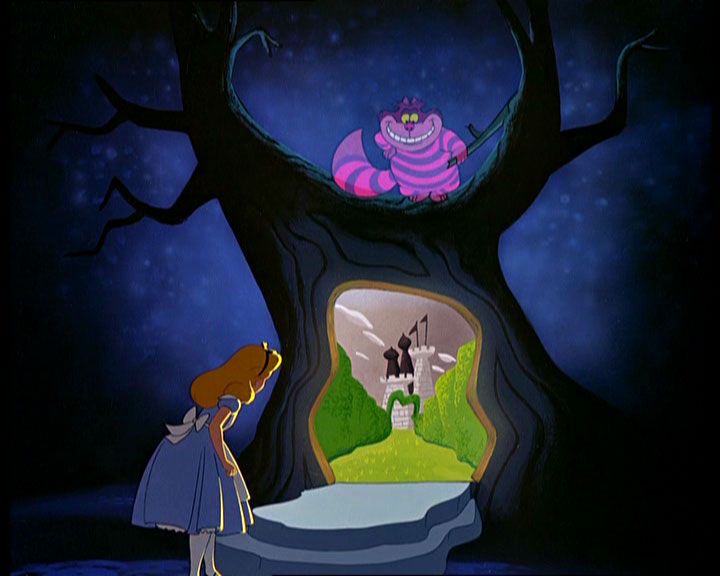 Alice looking at the door in a tree the Cheshire Cat opened