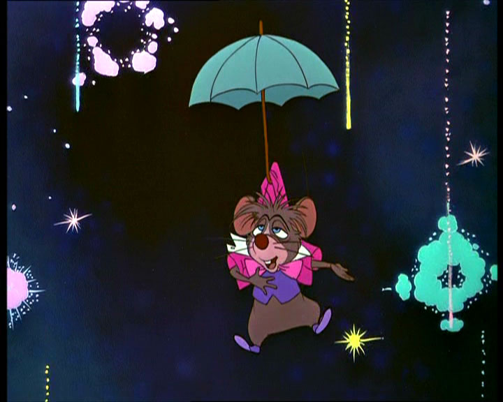 Dormouse floating on an umbrella
