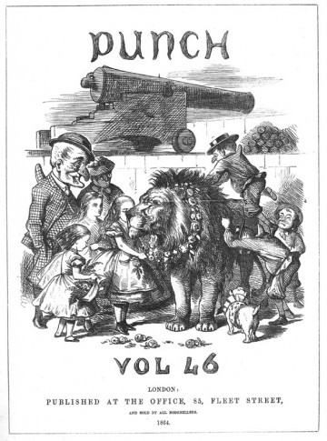 John Tenniel - Alice figure garlanding the British lion, Punch, January-June 1864