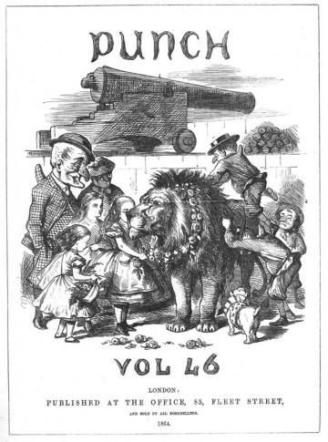John Tenniel - Alice figure garlanding the British lion, Punch, January-June 1864
