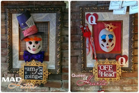 Mad Hatter and Queen of Hearts halloween decorations