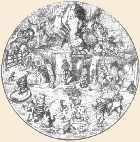 "Medley of Tenniel's illustrations, from ""The Life and Letters of Lewis Carroll"" by S. Collingwood"