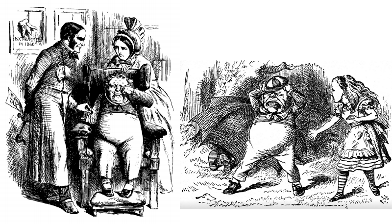 """Master Bull and his dentist"" versus Tweedledum, both by John Tenniel"