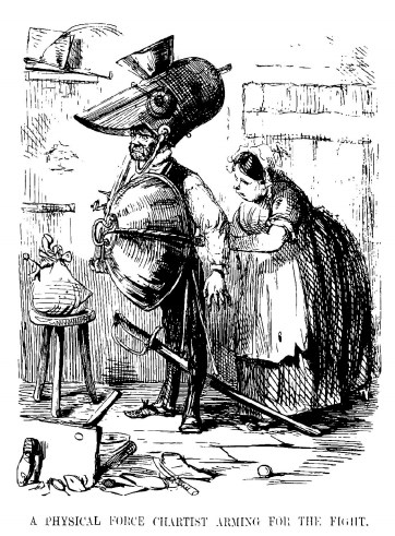 A physical force chartist arming for the fight - by John Leech