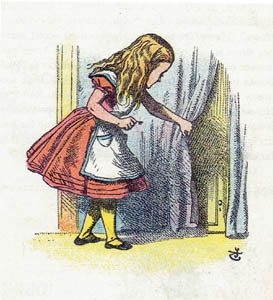 Illustration of Alice in a blue dress from the 1907 Little Folks' Edition
