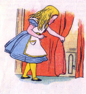 Illustration of Alice in a blue dress from the 1903 Little Folks' Edition