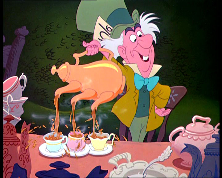 The Mad Hatter pouring tea
