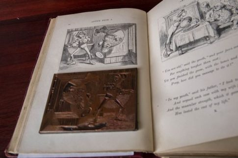 Copper plate of the Father William doing a somersault illustration