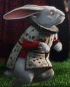 Tim Burton's White Rabbit in herald outfit