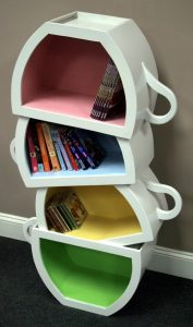 Stacked teacups cupboard