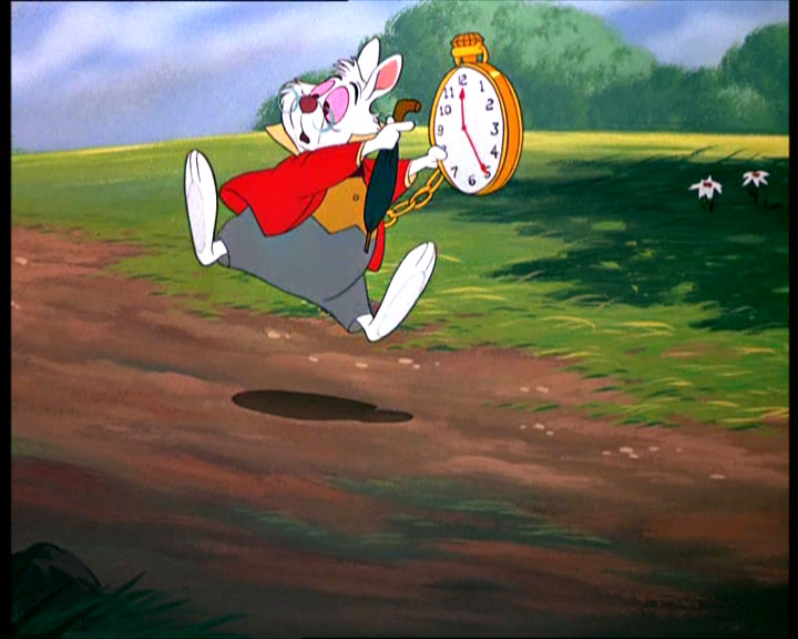 White Rabbit pointing at watch
