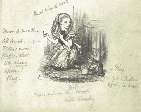 Notes and corrections by Tenniel on a proof of an illustration